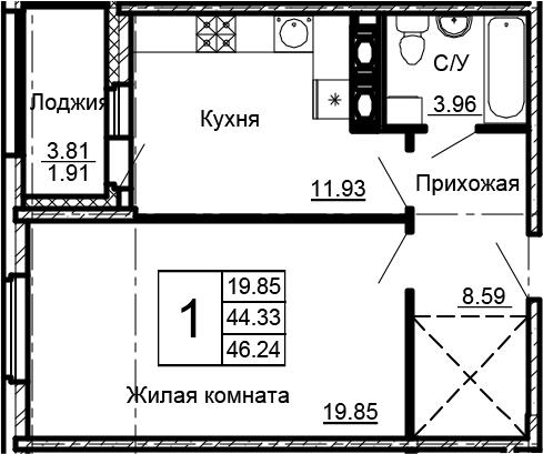 1-комнатная 48 м<sup>2</sup> на 14 этаже