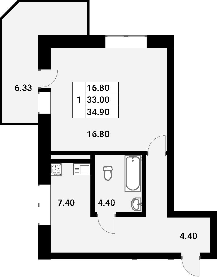1-к.кв, 39.33 м²