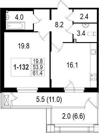 2-комнатная 71 м<sup>2</sup> на 1 этаже