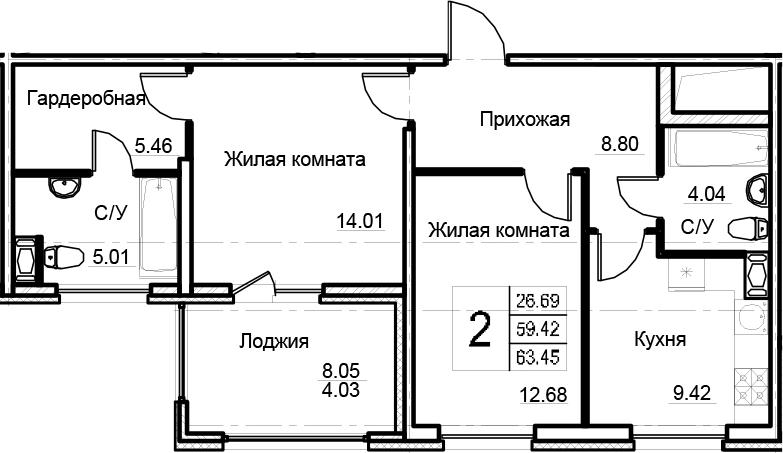 2-комнатная 67 м<sup>2</sup> на 6 этаже