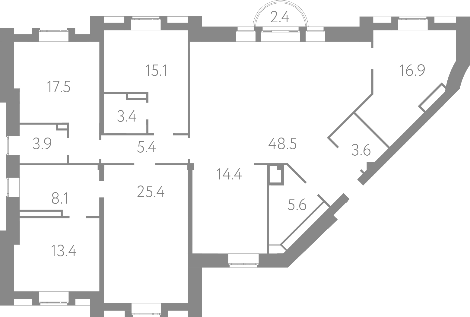 4-комнатная 183 м<sup>2</sup> на 4 этаже