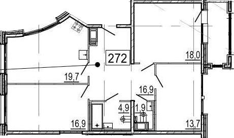 4-комнатная 97 м<sup>2</sup> на 11 этаже