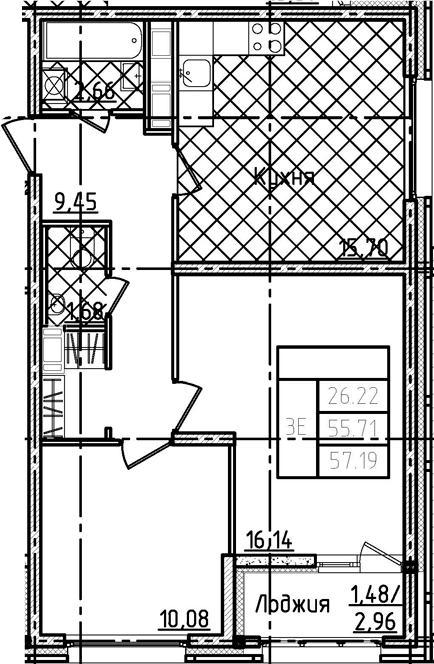 3-комнатная 58 м<sup>2</sup> на 14 этаже