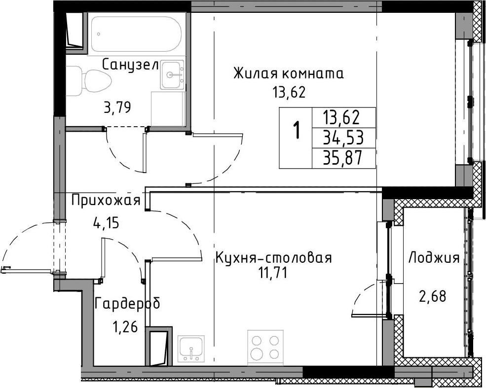 1-к.кв, 37.21 м²