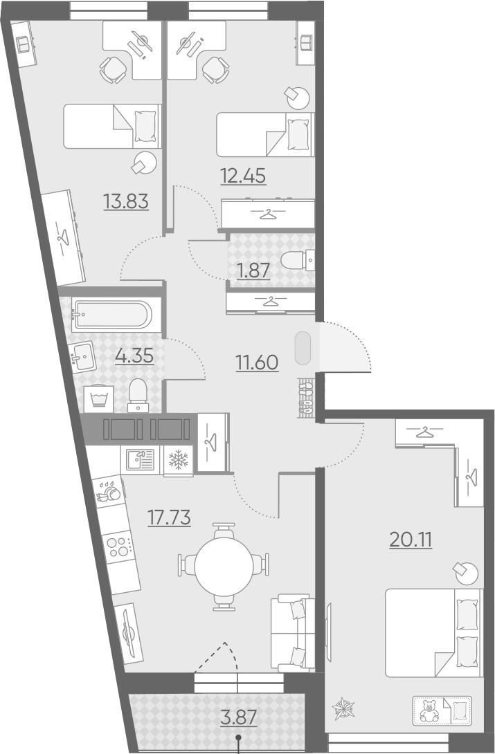 4-комнатная 85 м<sup>2</sup> на 13 этаже