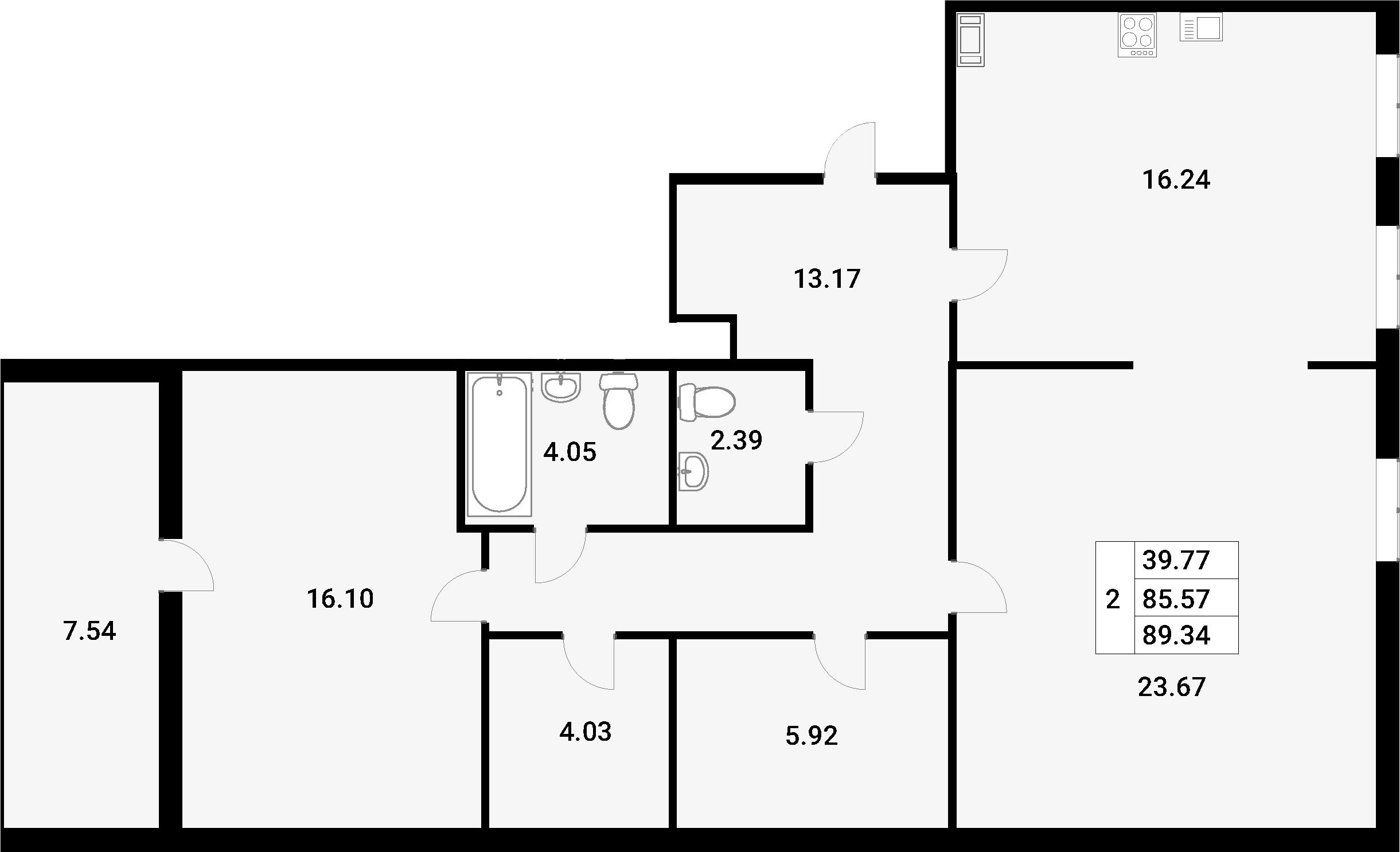 2-комнатная 93 м<sup>2</sup> на 4 этаже