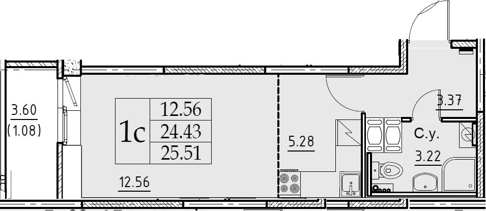 Студия 28 м<sup>2</sup> на 6 этаже