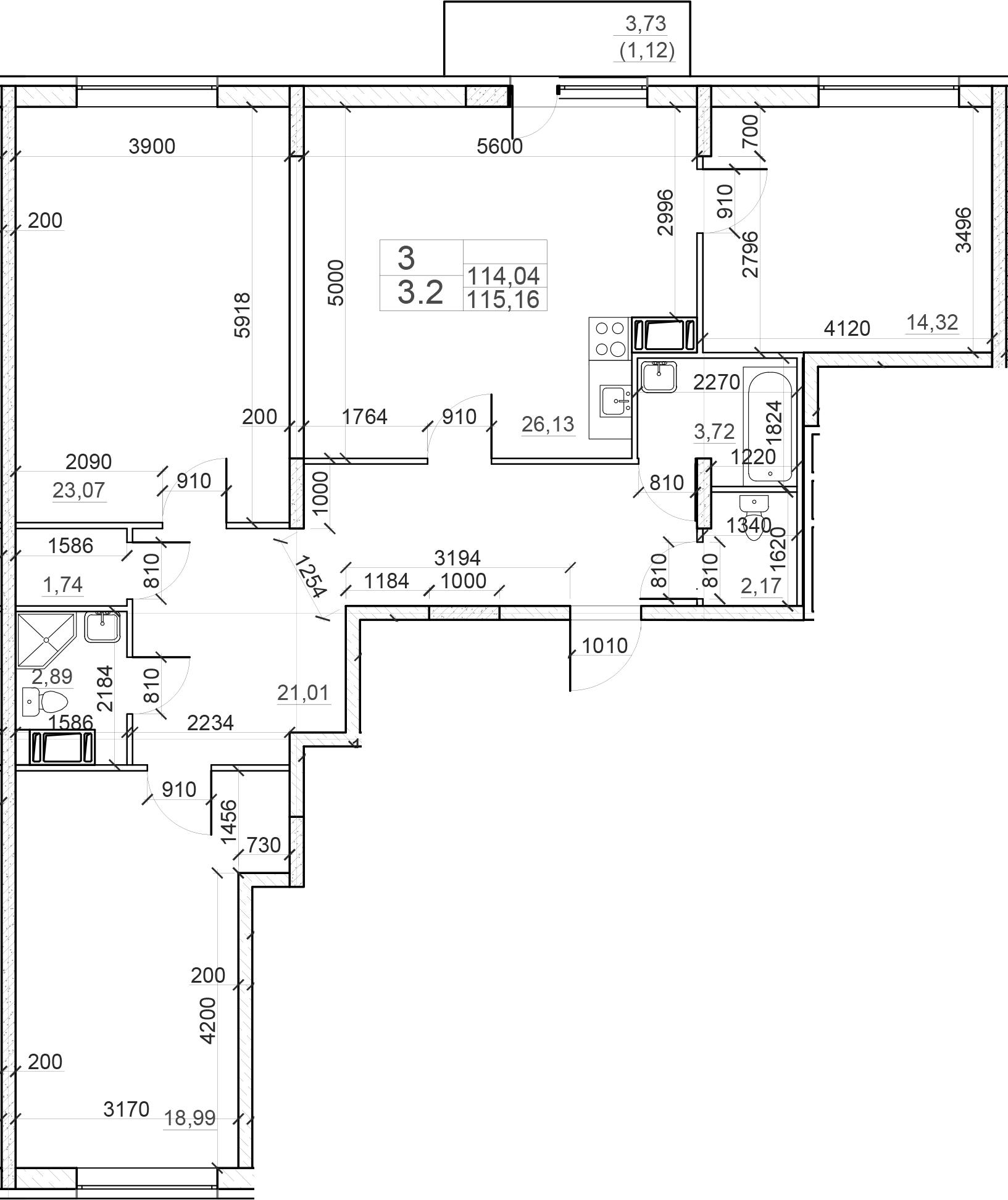 4-комнатная 117 м<sup>2</sup> на 2 этаже