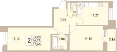 2-комнатная 59 м<sup>2</sup> на 6 этаже