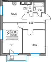2-комнатная 58 м<sup>2</sup> на 20 этаже