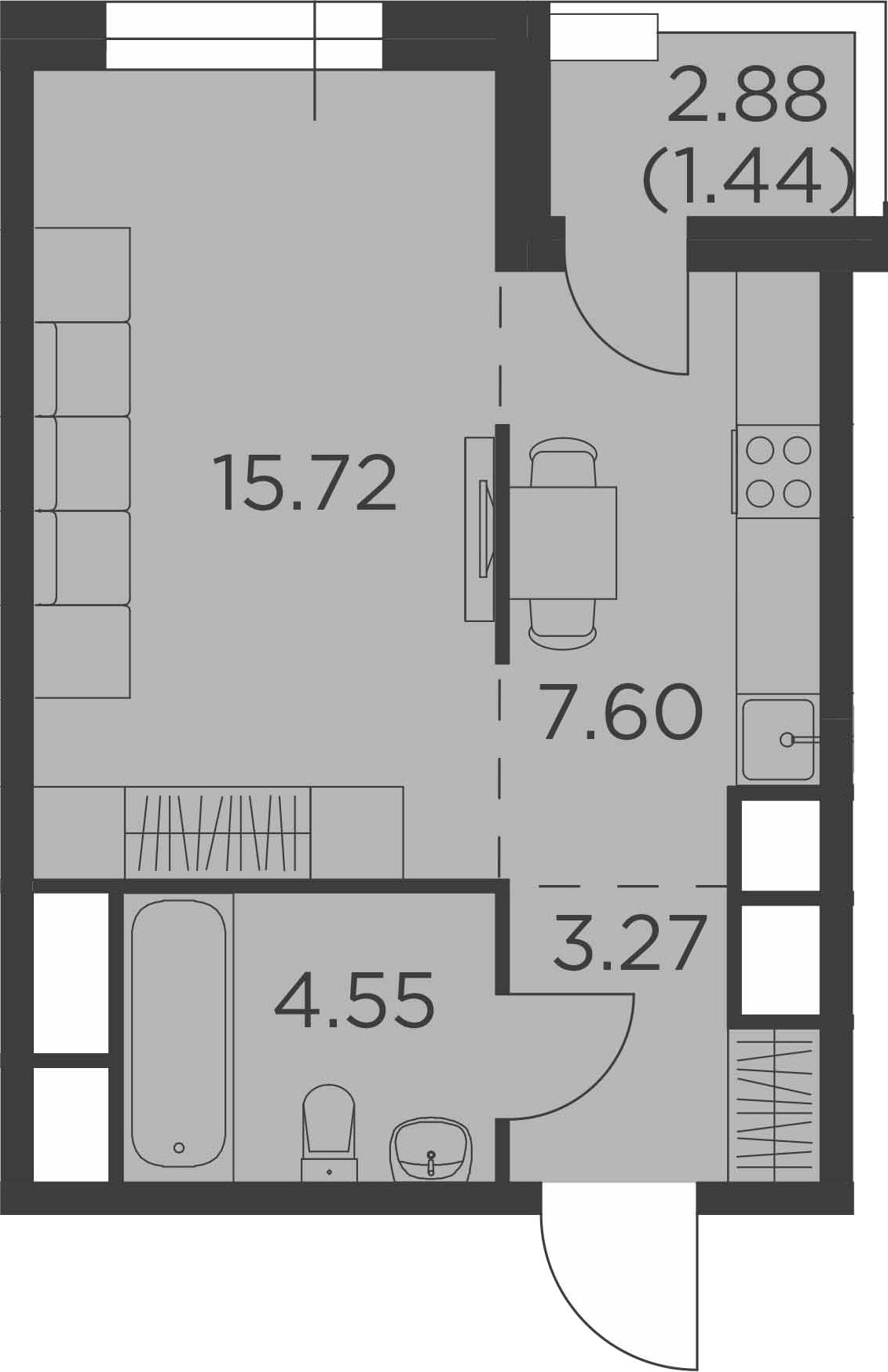 Студия, 34.02 м²