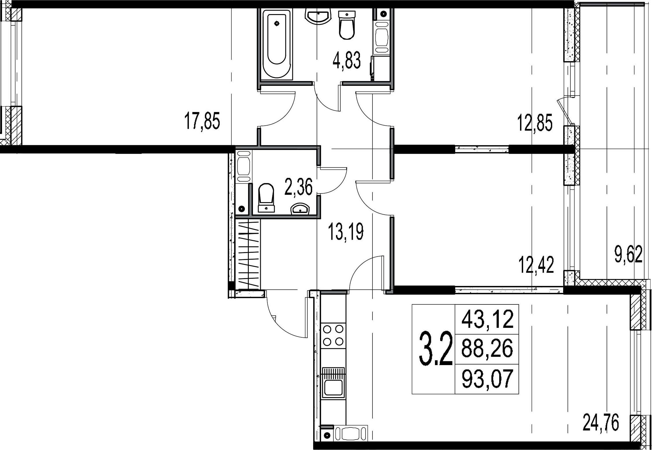 4-комнатная 97 м<sup>2</sup> на 9 этаже