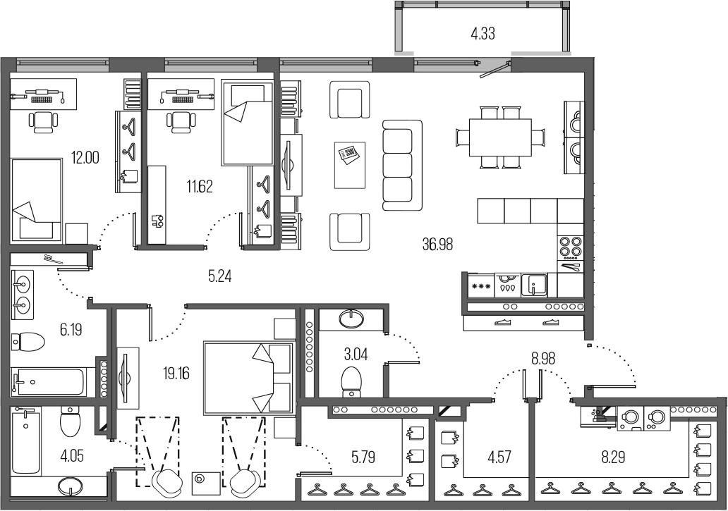 4-комнатная 130 м<sup>2</sup> на 8 этаже