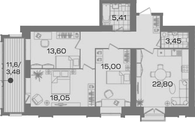 3-комнатная 104 м<sup>2</sup> на 5 этаже