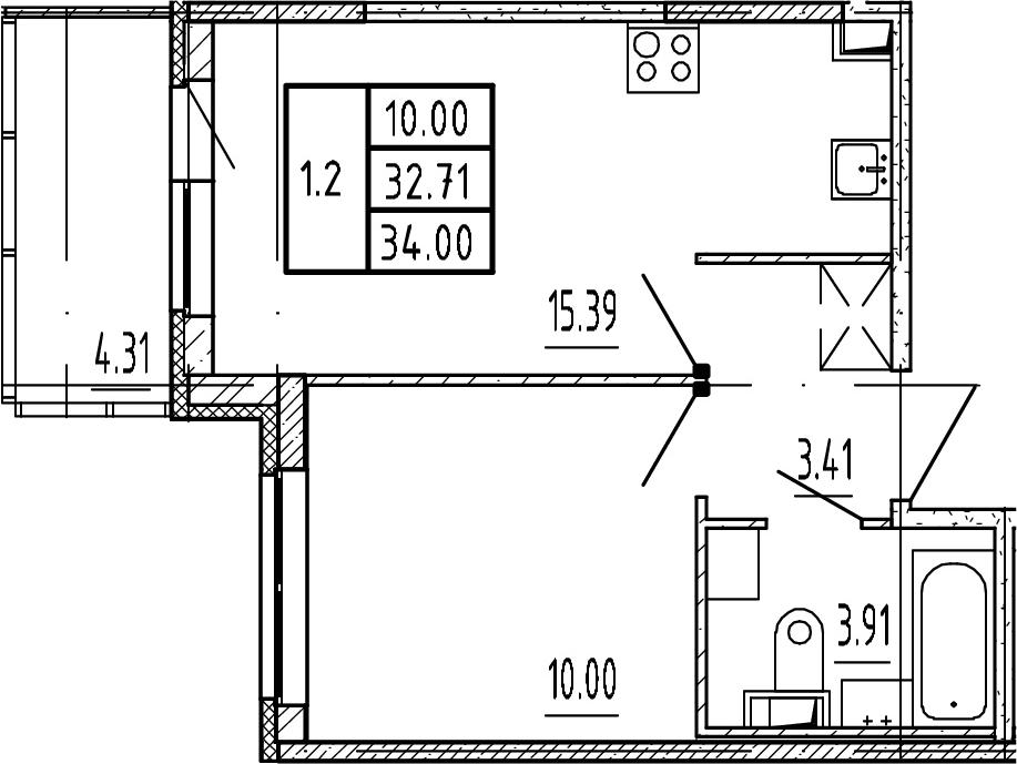 2-комнатная 37 м<sup>2</sup> на 3 этаже