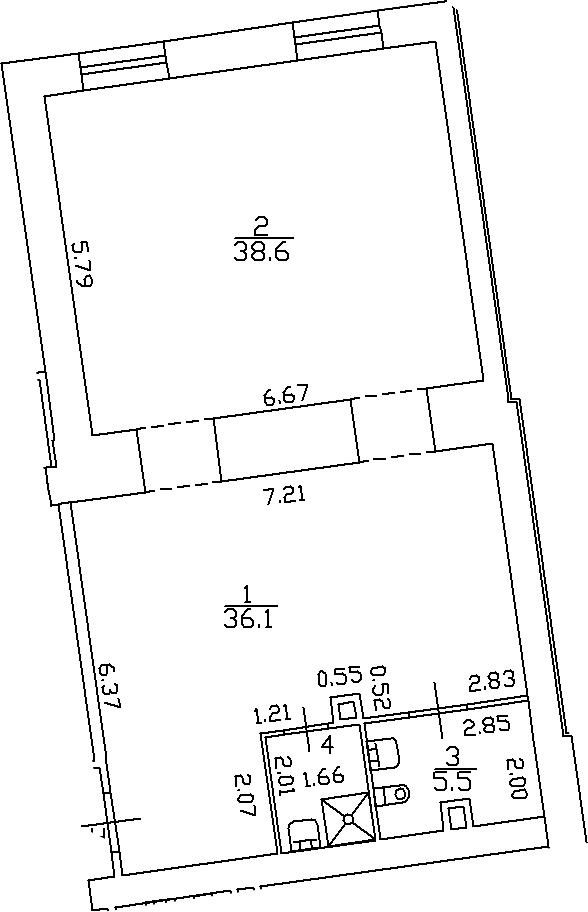 2-комнатная 83 м<sup>2</sup> на 3 этаже
