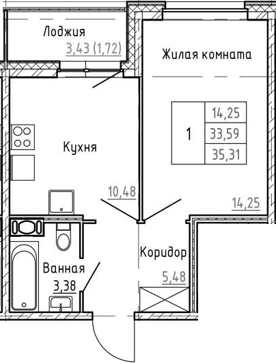 1-комнатная 37 м<sup>2</sup> на 12 этаже