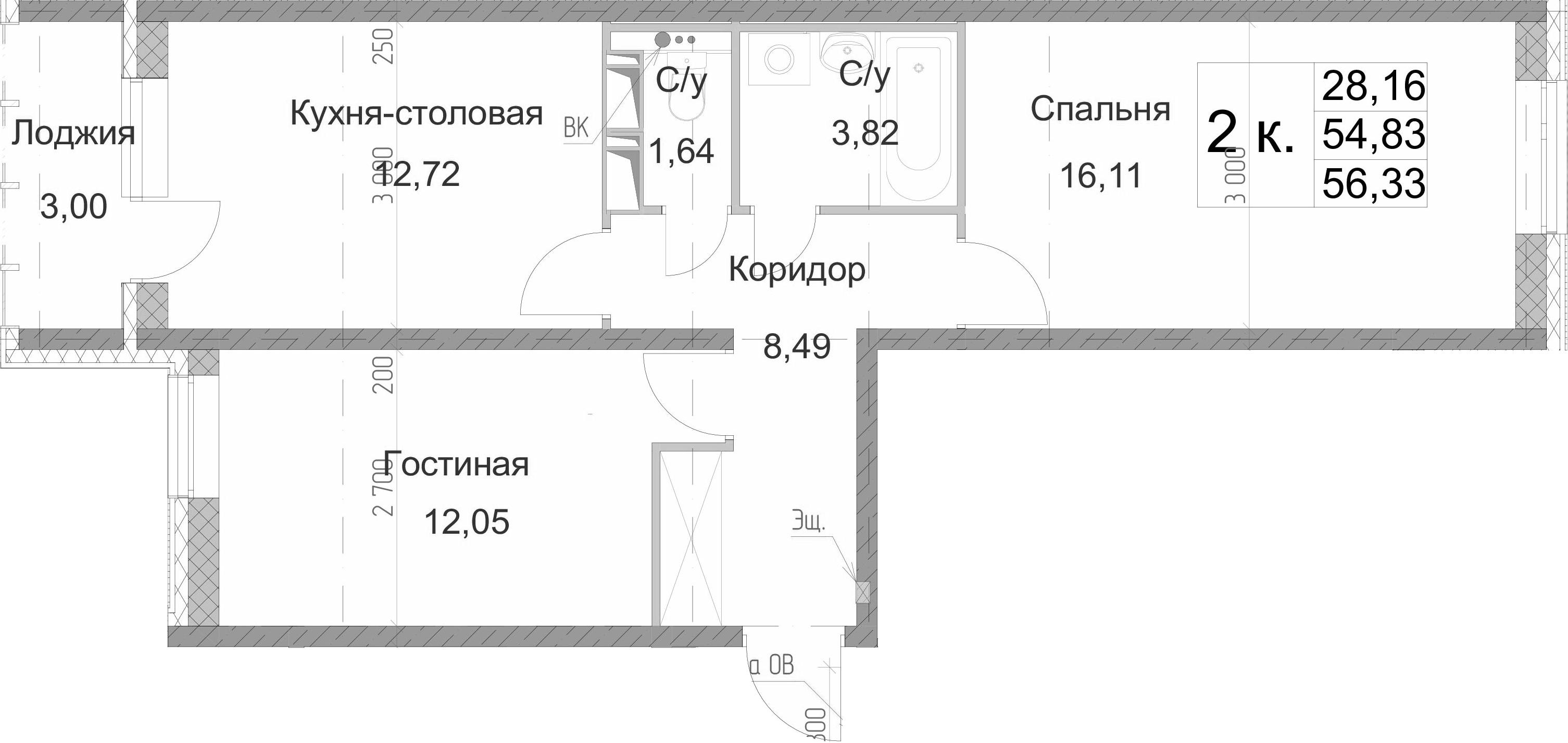 2-к.кв, 57.83 м²