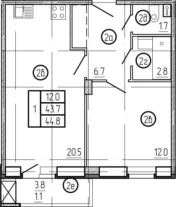 2-к.кв (евро), 47.37 м²