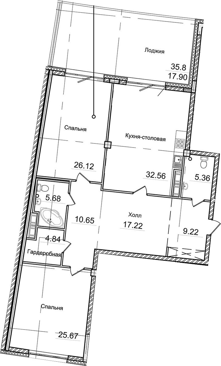 3-к.кв (евро), 156.48 м²
