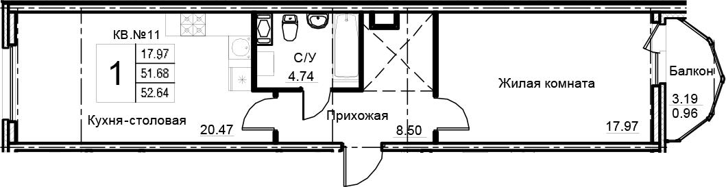 1-комнатная 54 м<sup>2</sup> на 8 этаже
