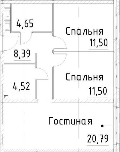3-к.кв, 61.35 м²