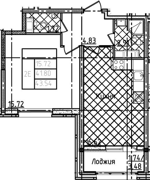 2-комнатная 45 м<sup>2</sup> на 13 этаже