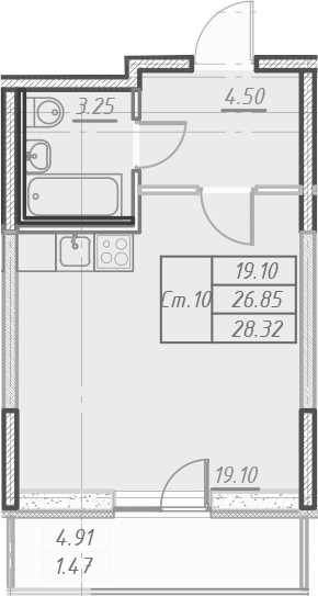 Студия 31 м<sup>2</sup> на 23 этаже