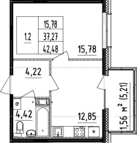 1-комнатная 42 м<sup>2</sup> на 4 этаже