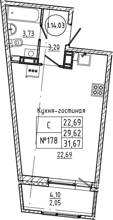 Студия 33 м<sup>2</sup> на 14 этаже