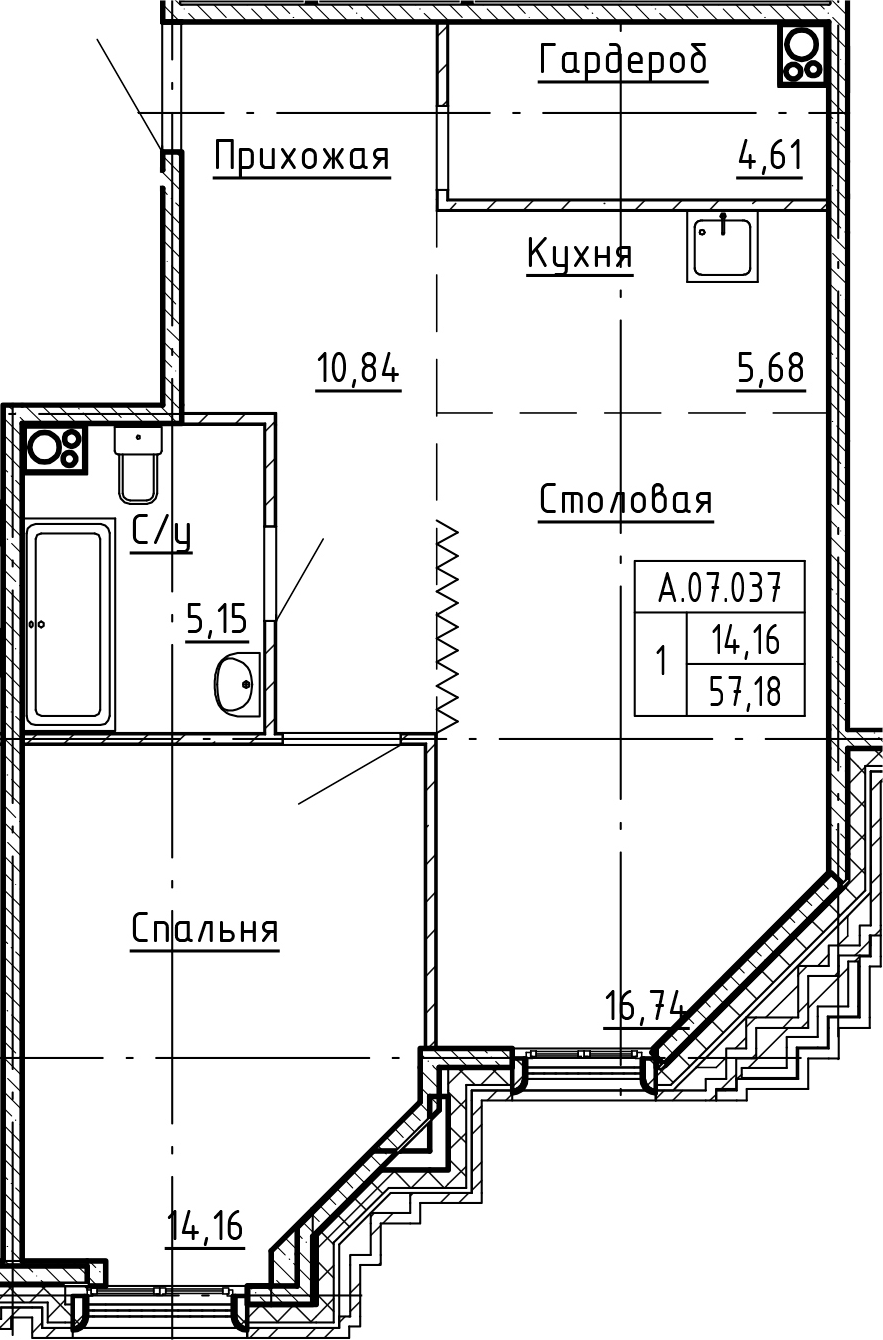 2-комнатная 57 м<sup>2</sup> на 7 этаже