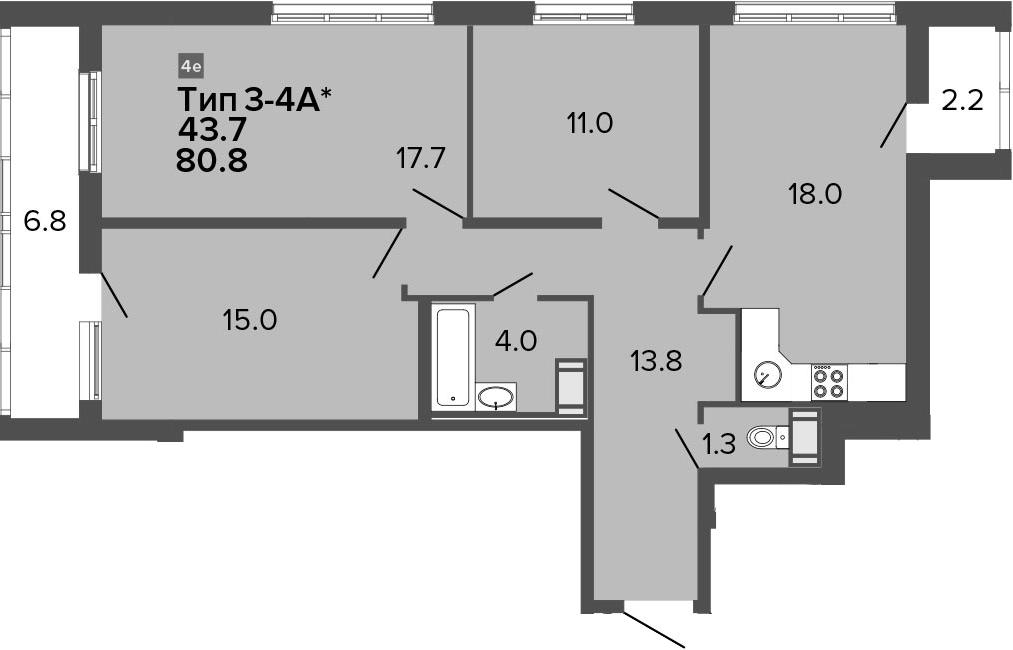 4-комнатная 89 м<sup>2</sup> на 20 этаже