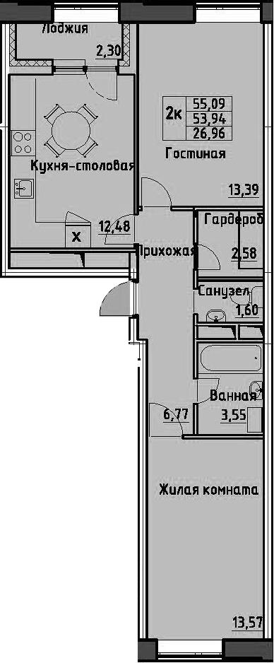 2-комнатная 56 м<sup>2</sup> на 3 этаже