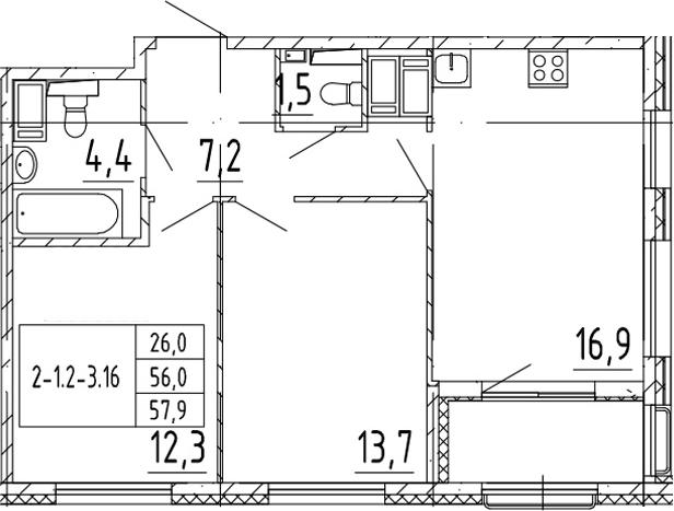 3-комнатная 59 м<sup>2</sup> на 12 этаже