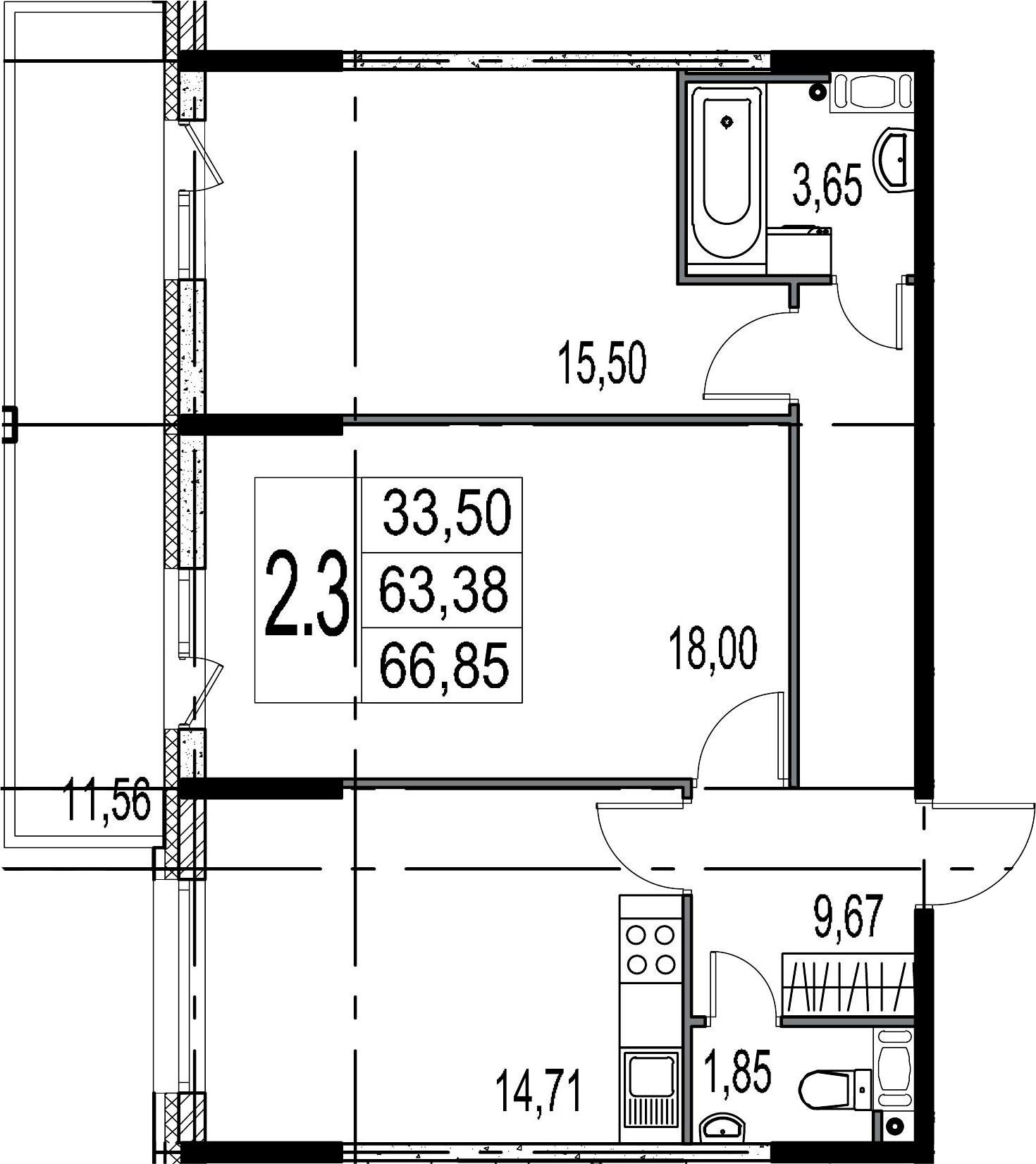 2-комнатная 74 м<sup>2</sup> на 6 этаже