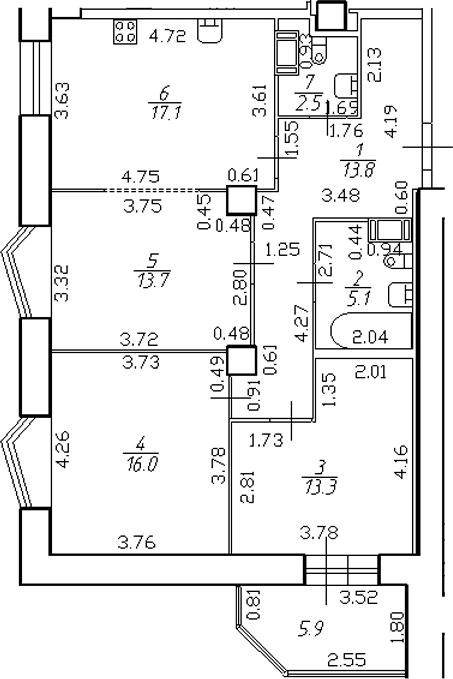4-комнатная 87 м<sup>2</sup> на 12 этаже