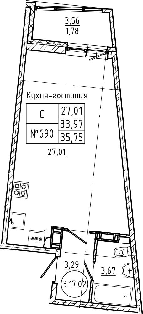 Студия 37 м<sup>2</sup> на 17 этаже