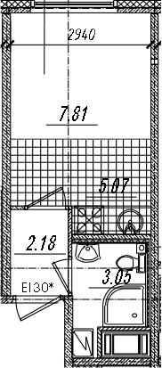 Студия 18 м<sup>2</sup> на 12 этаже