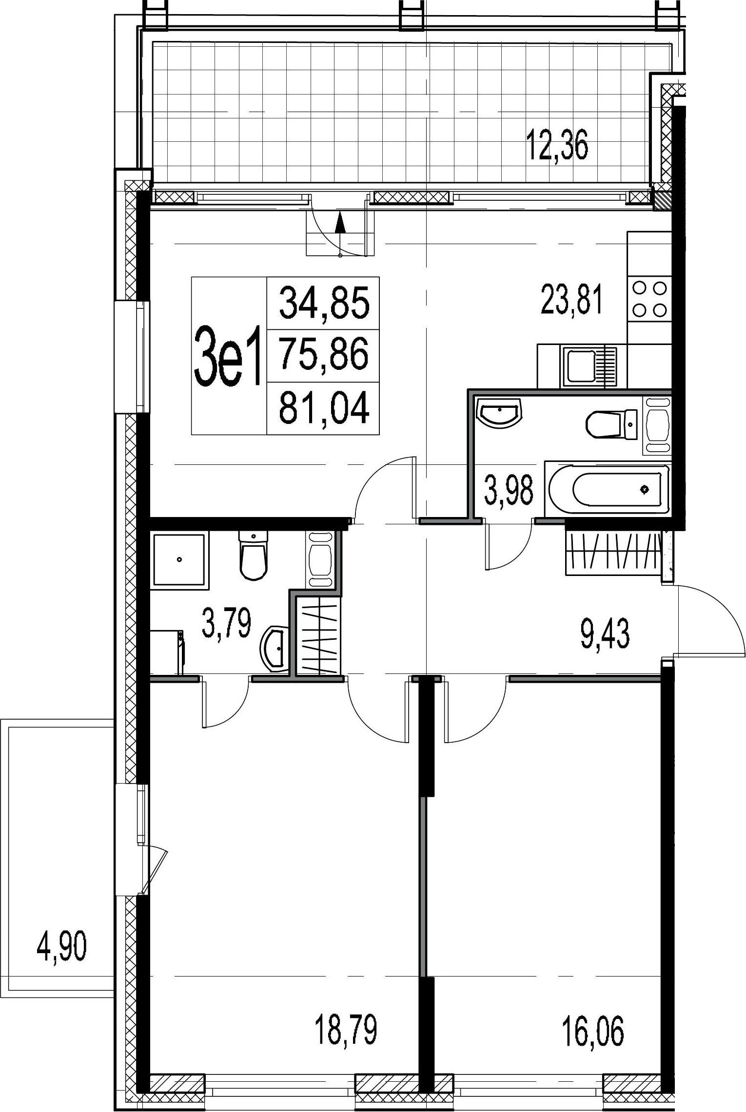 3-комнатная 93 м<sup>2</sup> на 9 этаже