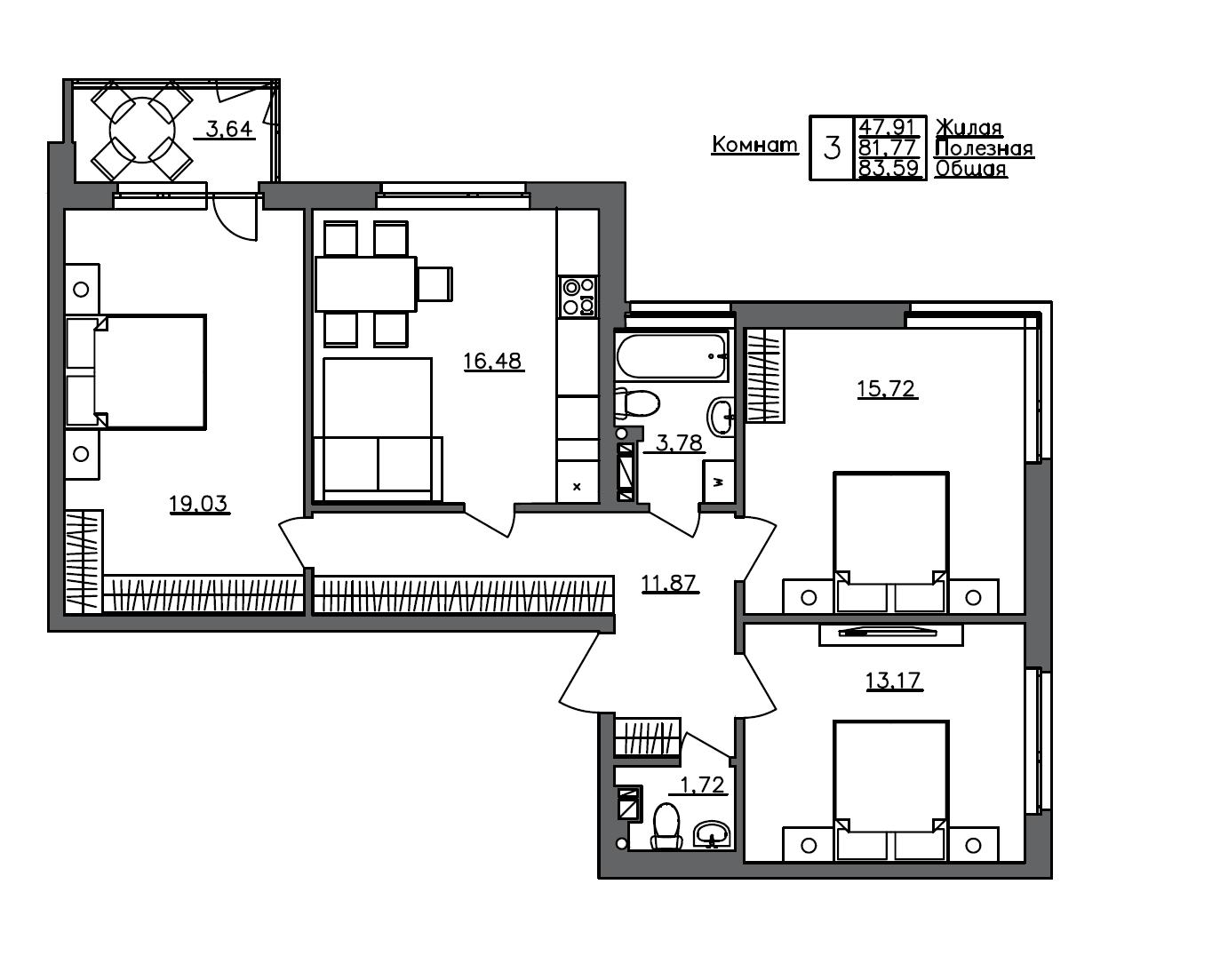4-комнатная 85 м<sup>2</sup> на 2 этаже