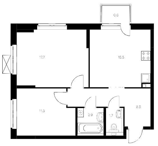 3-комнатная 59 м<sup>2</sup> на 11 этаже