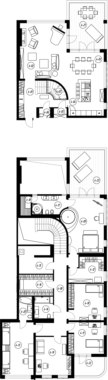 4-комнатная 308 м<sup>2</sup> на 2 этаже