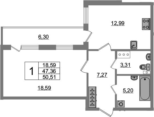 1-комнатная 53 м<sup>2</sup> на 3 этаже