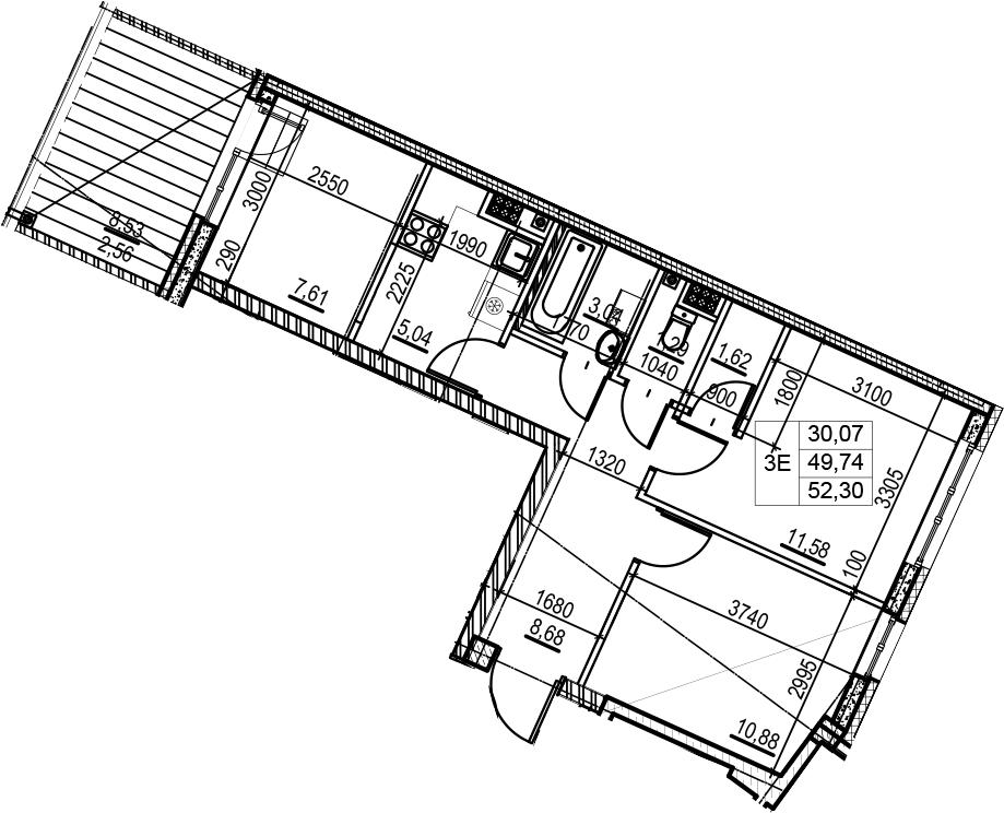 3-комнатная 58 м<sup>2</sup> на 7 этаже