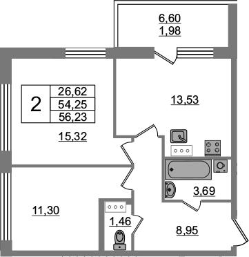 2-комнатная 60 м<sup>2</sup> на 6 этаже