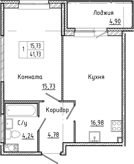 2-комнатная 46 м<sup>2</sup> на 6 этаже