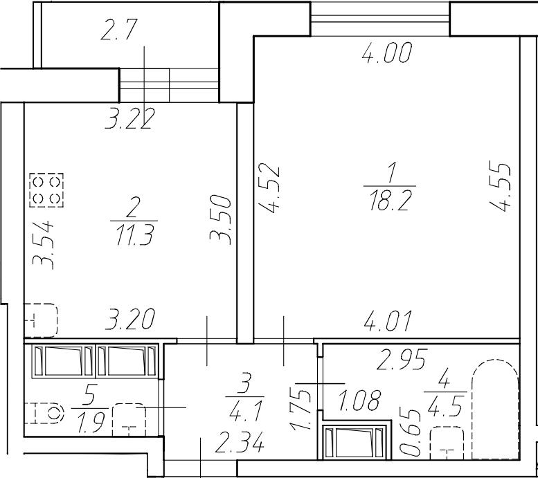 1-комнатная 42 м<sup>2</sup> на 17 этаже