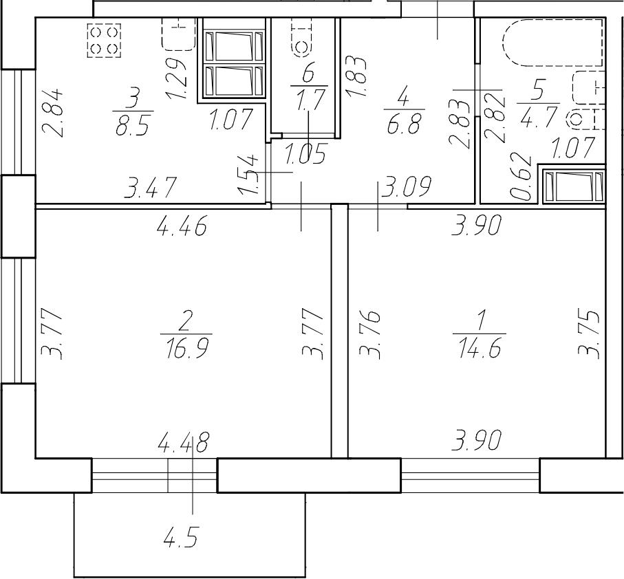2-комнатная 57 м<sup>2</sup> на 17 этаже