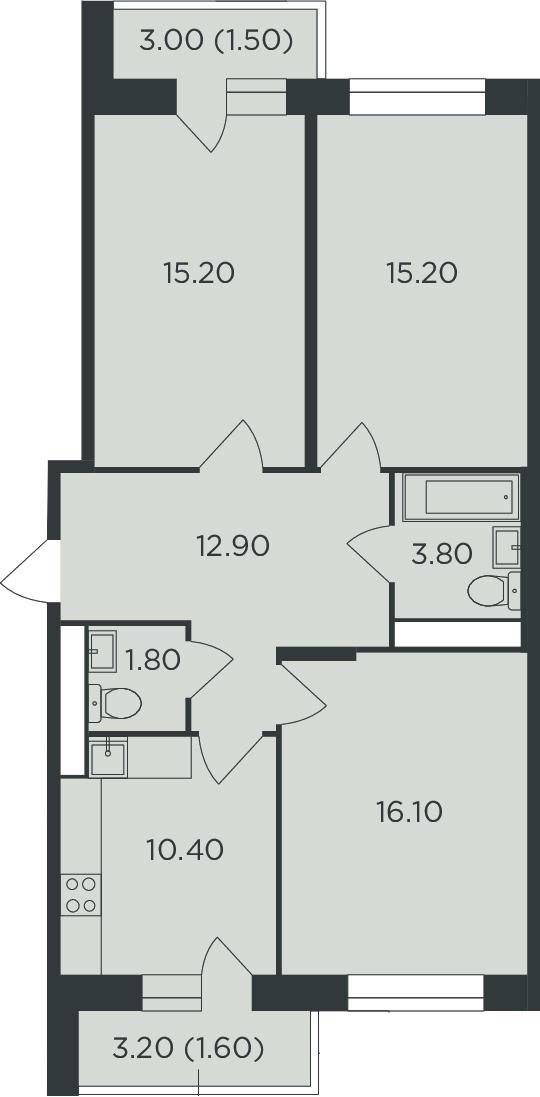 3-к.кв, 81.6 м²