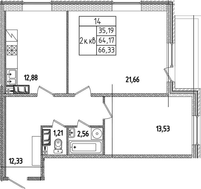 2-к.кв, 68.49 м²